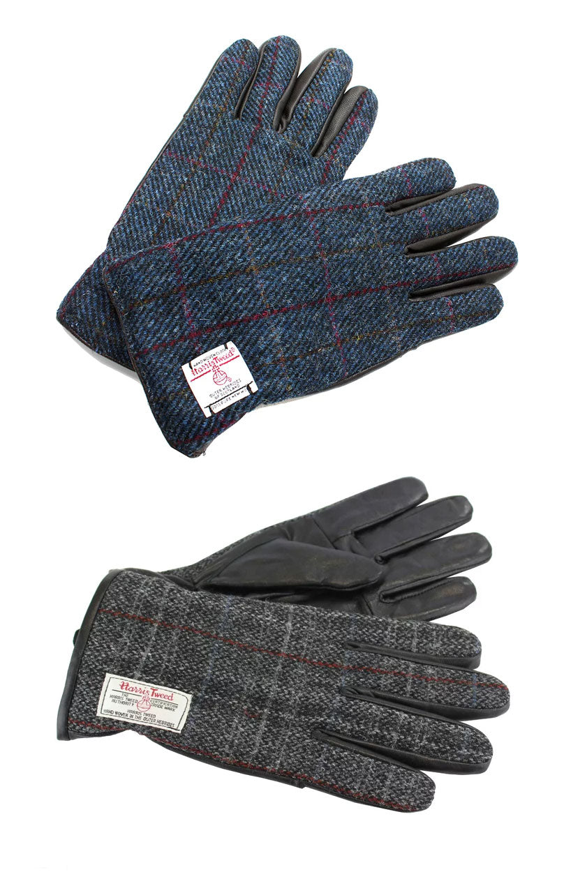 British Bag Company Harris Tweed Gloves | Grey, Blue