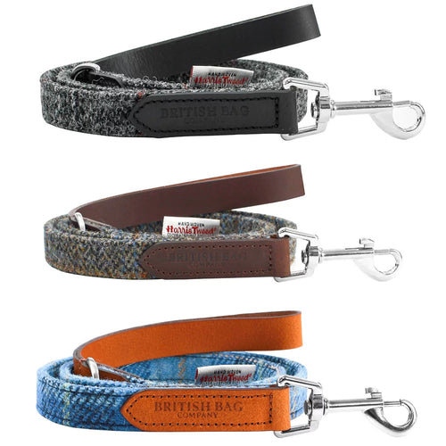 British Bag Company Harris Tweed Dog Lead | Grey, Brown, Blue