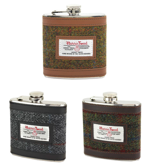 British Bag Company Harris Tweed Hip Flask