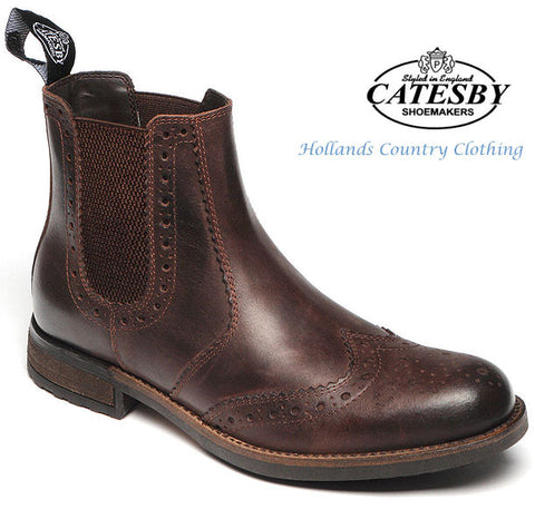 Catesby Chestnut Leather Upper Brogue Market Boot