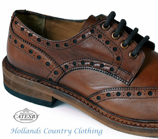 Catesby Leather Sole Rich Brown Brogue four eyelet lace up.