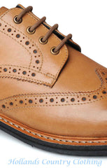 Catesby Tan Brogue Shoe Rubber Stud Sole