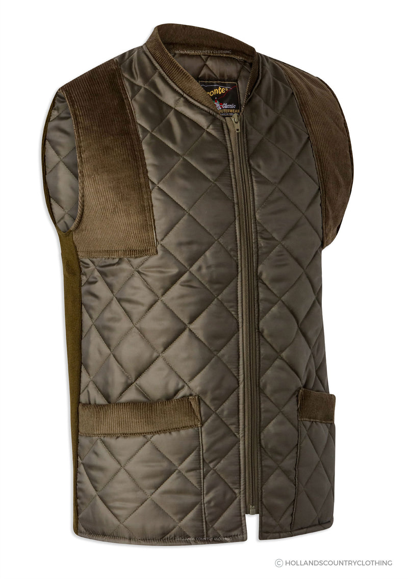 Bronte Quilted Gilet / Waistcoat in Olive Green with cord shoulder patches