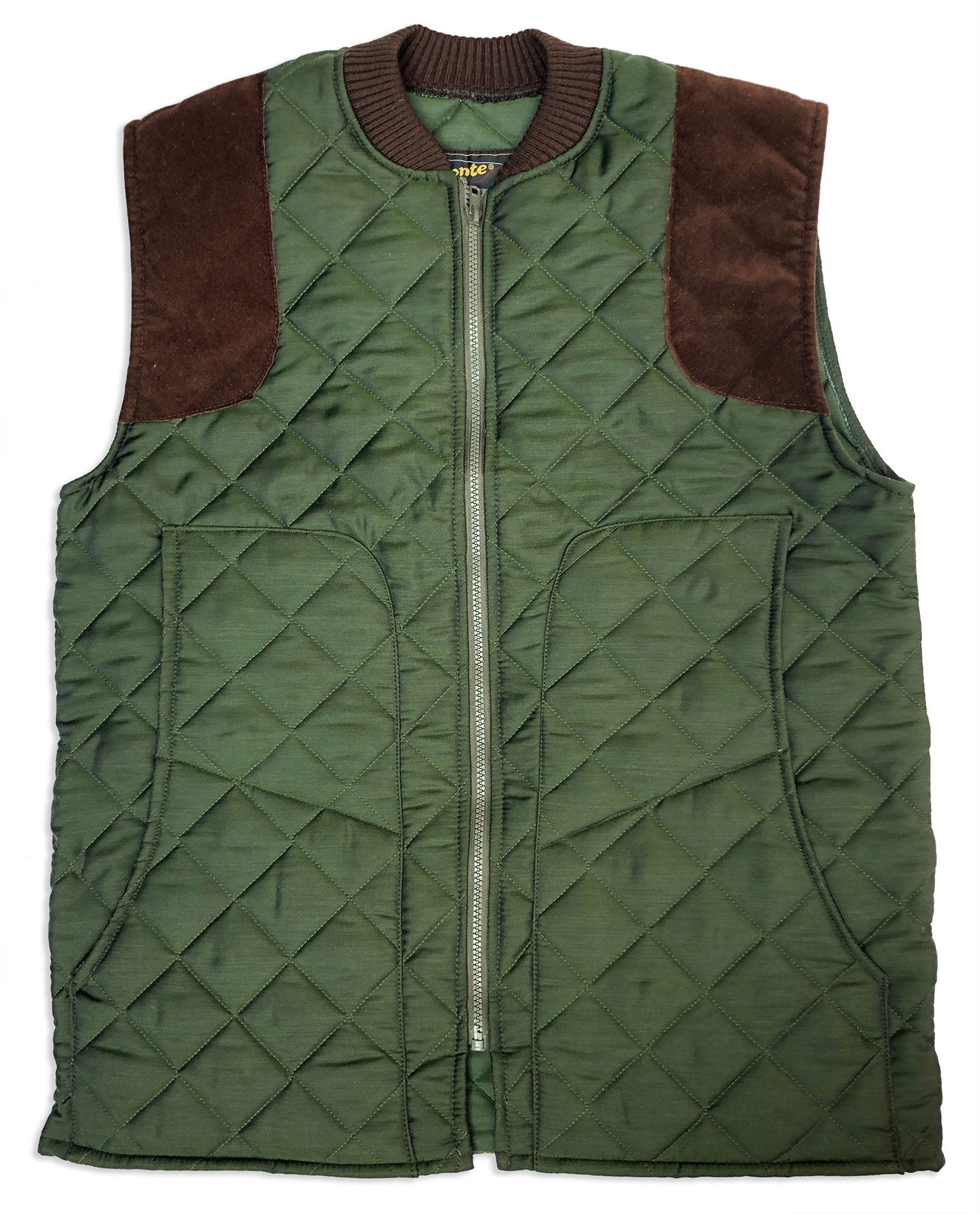 Bronte Quilted Shooting Waistcoat in green with shoulder protectors