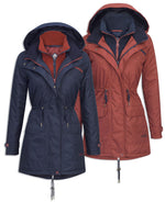 Jack Murphy Ladies Brooke Waterproof Coat in navy and red brick