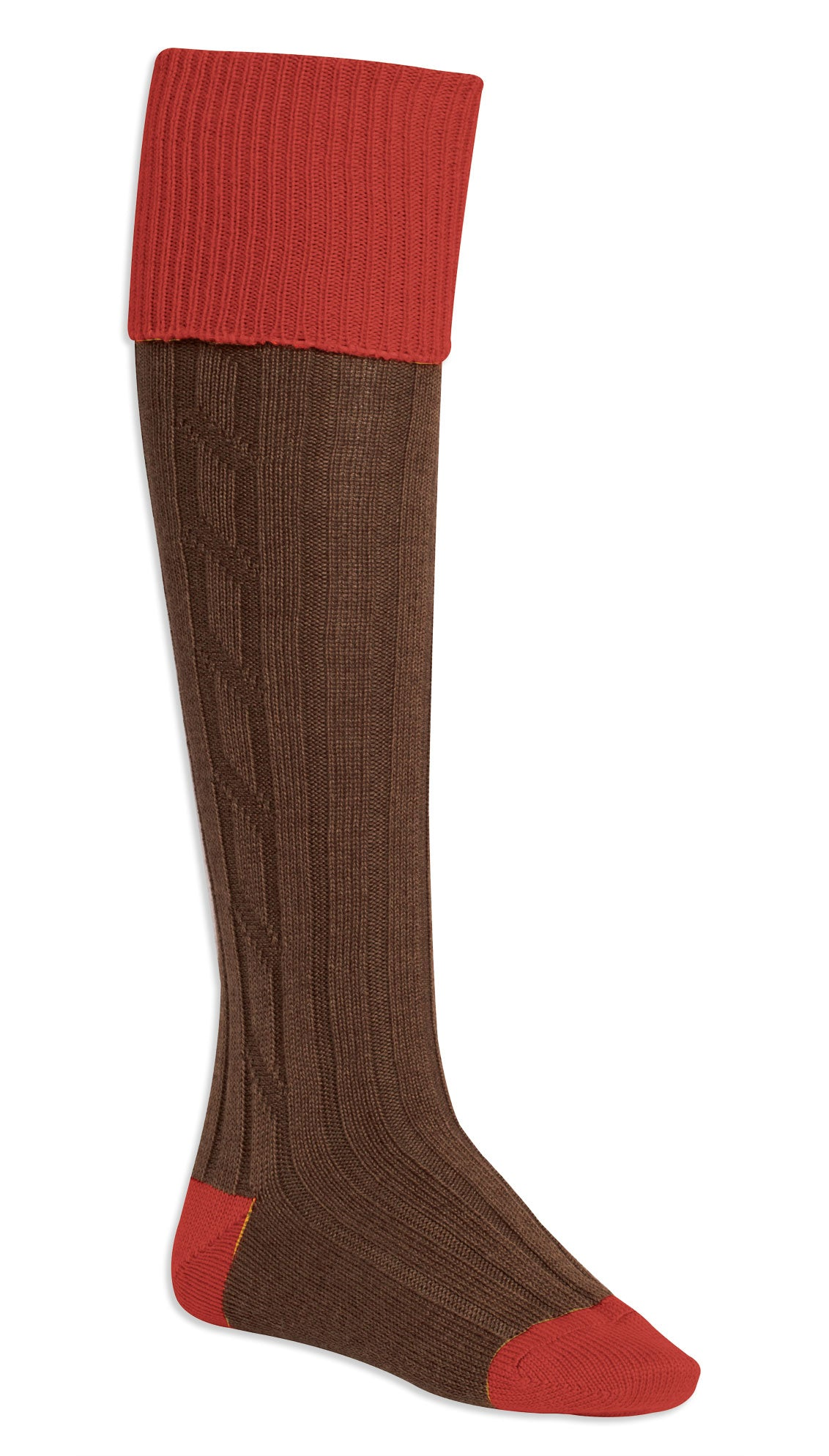 red and brown Contrast Heel & Toe Shooting Sock by Alan Paine