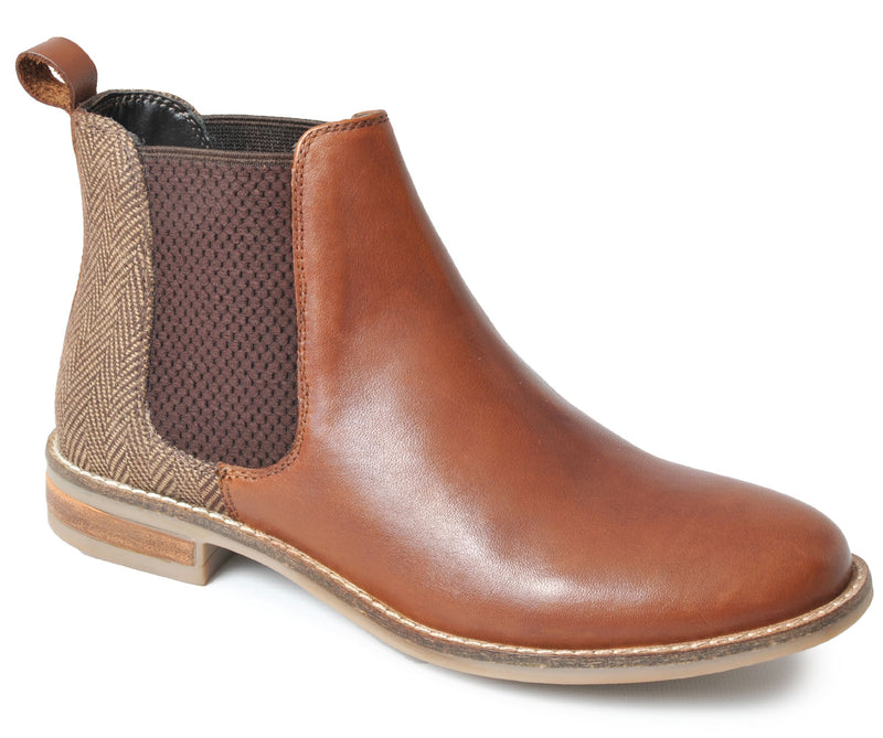 Ladies Cognac Leather/Tweed Chelsea Boot