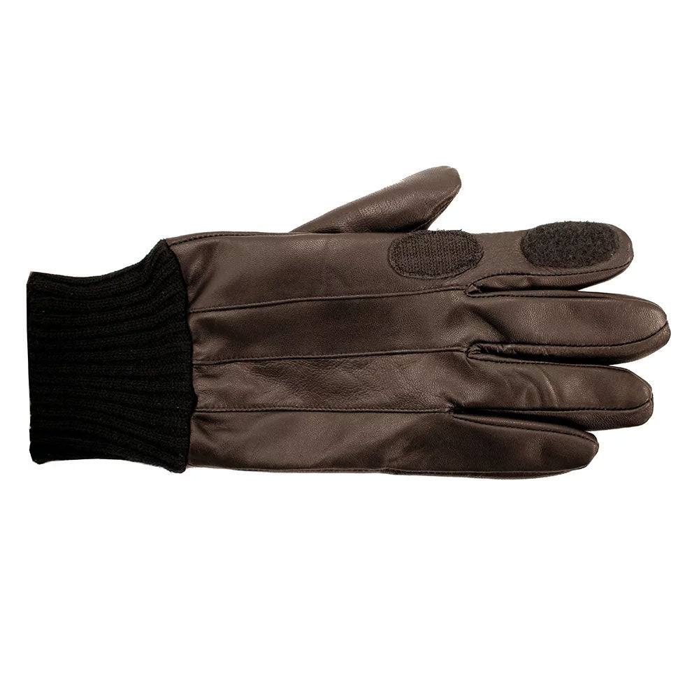 Brown leather shooting glove with knitted cuff