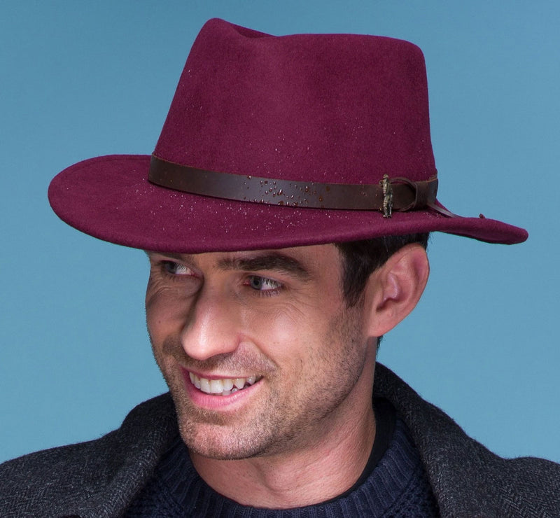 Burgundy Red Felt Fedora
