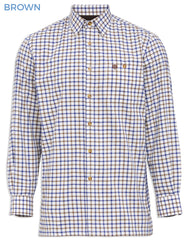 Brown with Blue Check Men's Bury Fleece Lined Shirt by Alan Paine