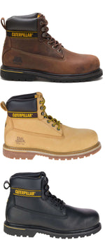 Caterpillar Holton Leather Safety Boot | Brown, Gold, Black