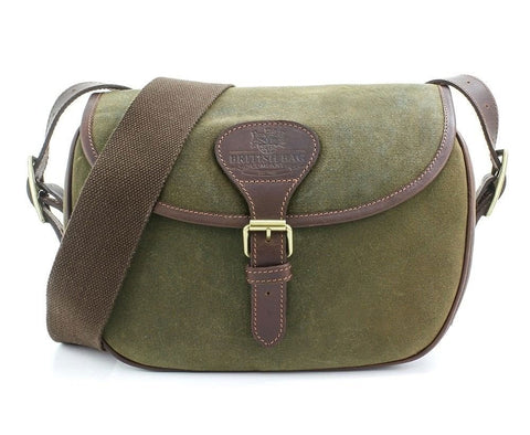 British Bag Co. Cartridge Bag | Khaki Waxed Cotton and leather