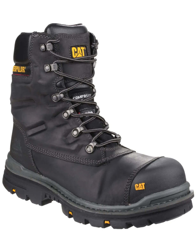 CAT Premier Composite Toe TX S3 Leather 8 Inch Work Boot | Black