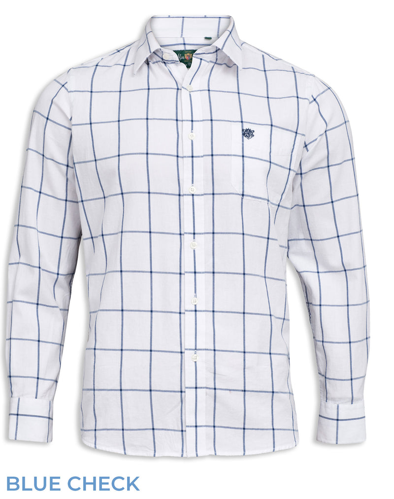 White with large blue over check Alan Paine Aylesbury Check Shirt