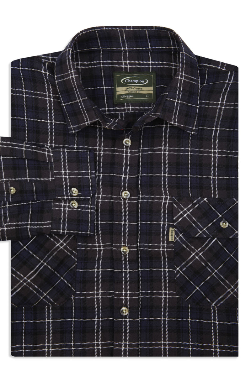 Long sleeves folded man wearing champion kilbeggan two pocket work shirt in blue
