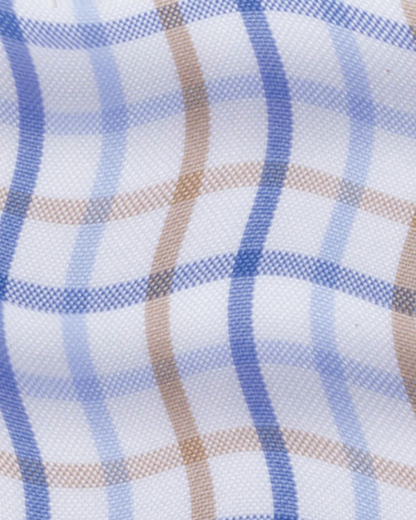 Blue Beige Tattersall Check