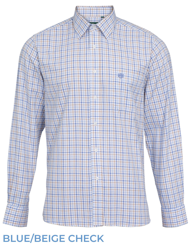 Blue Beige check Alan Paine Aylesbury Shirt