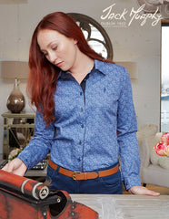 ladies blue paisley summer shirt