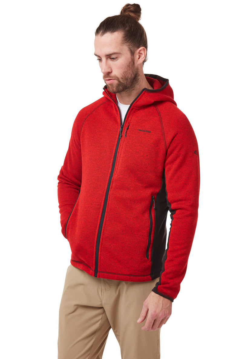 Man wearing Red Craghoppers Apollo Hooded Fleece Jacket