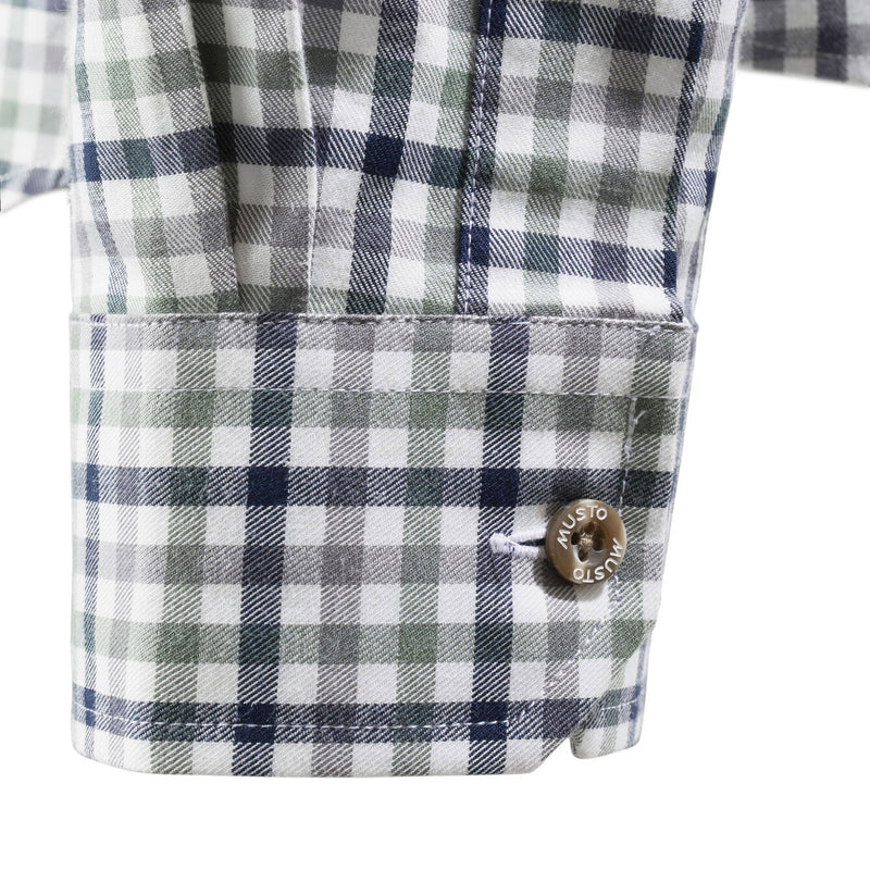 Green Navy Small Check pattern Classic Twill Country Shirt by Musto
