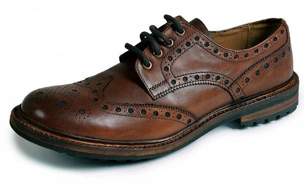 Catesby Brogue Leather Shoe with Commando Sole Rich Brown