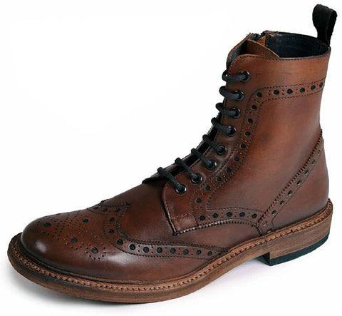 Catesby All Leather Brogue Lace Up Derby Boot Rich Brown