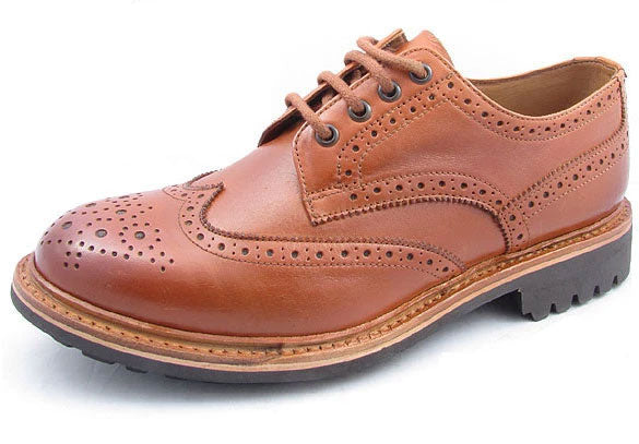 Catesby Leather Brogue Shoe with Commando Sole Tan