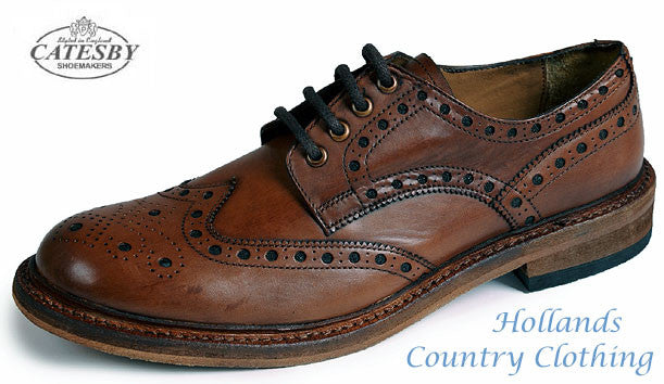 Catesby All Leather Brogue Shoe in rich brown