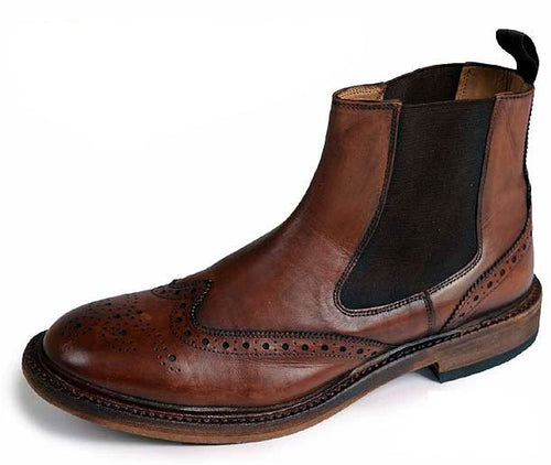 Catesby All Leather Brogue Dealer Boot | Rich Brown