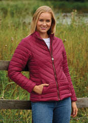 Lady wearing Raspberry Duvet Quilted Jacket