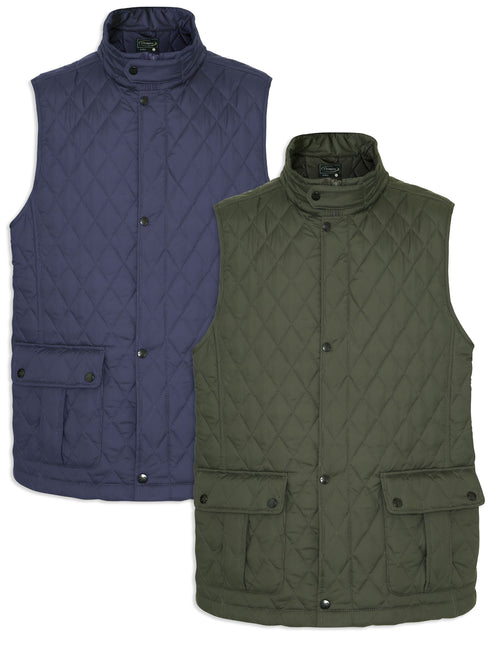 Champion Ashby Quilted Body Warmer | Olive & Navy