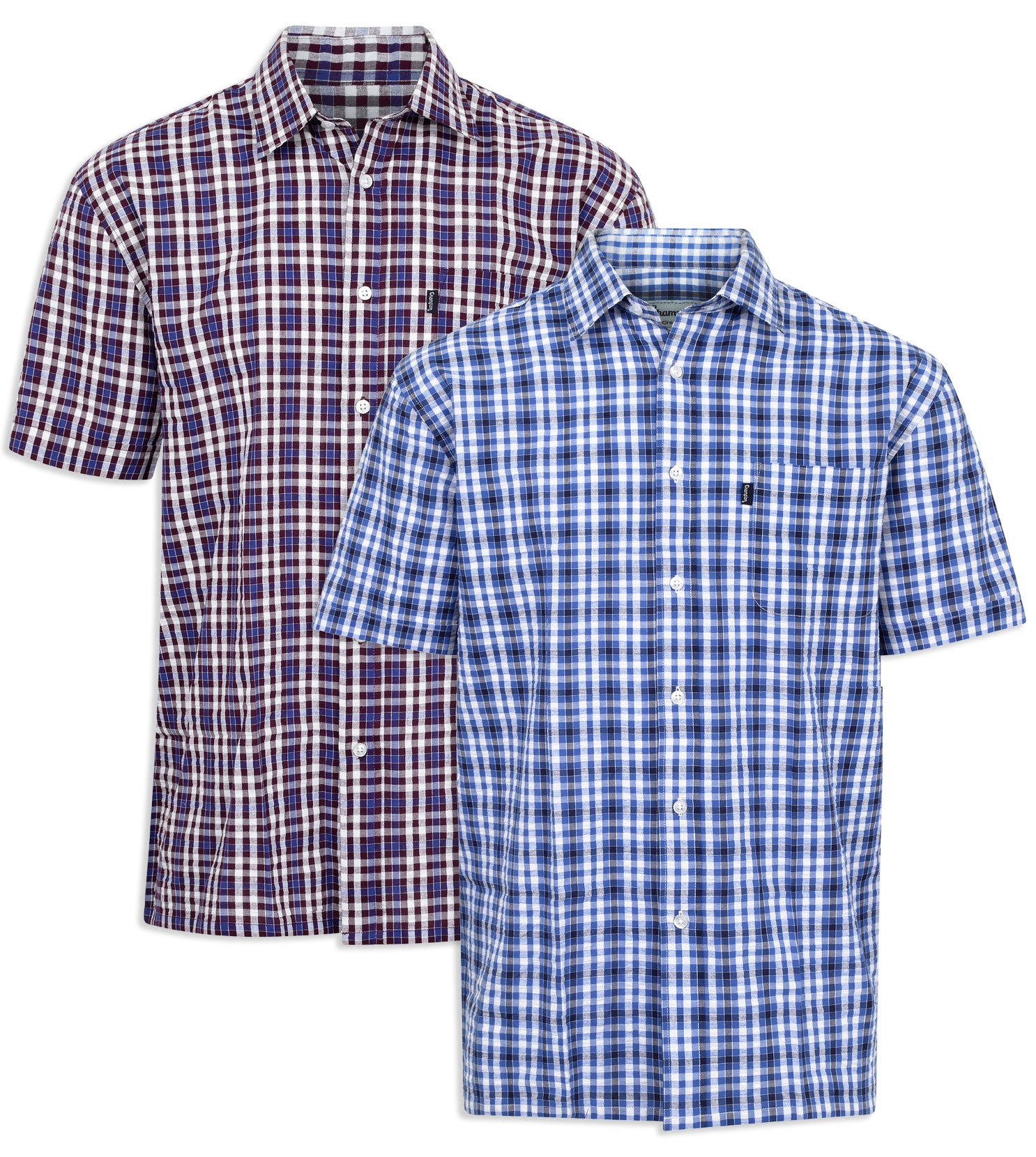 Champion Croyde All Cotton Short Sleeve Shirt in Red and Blue