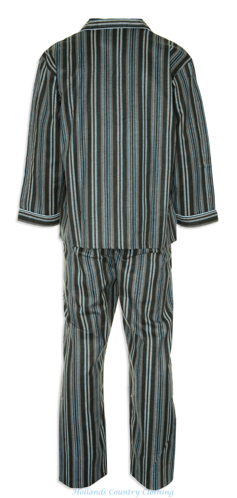 back view  Champion Kingston Striped Pyjamas 100% Cotton pair of in blue and burgundy