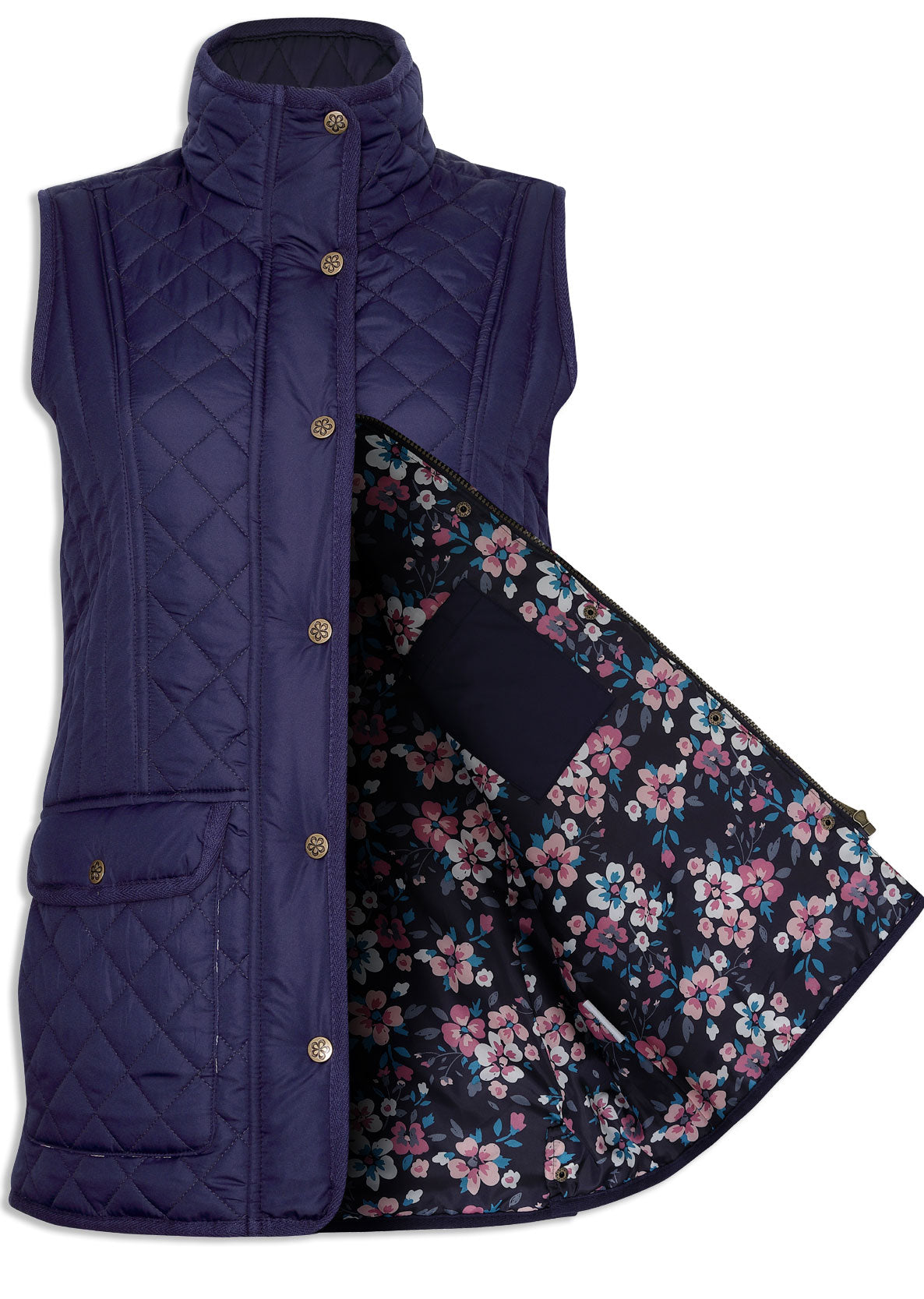 open to show flower lining Champion Dorney Ladies Quilted Gilet