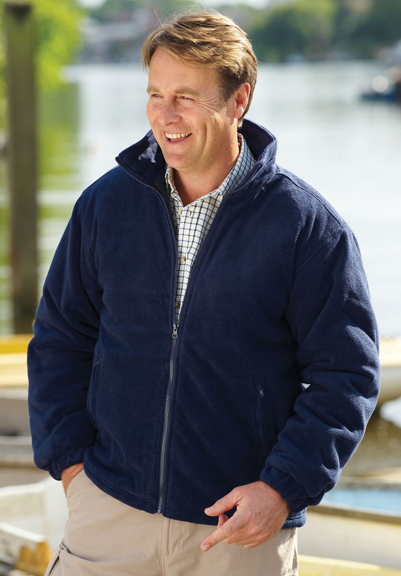 Man wearing Glen Lined Fleece Jacket from Champion in navy