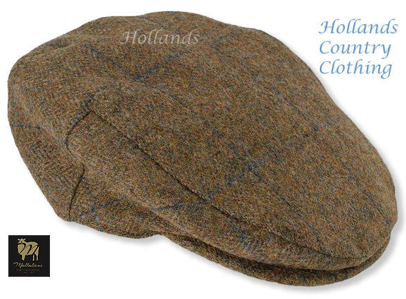 Fine Shetland Tweed Cap Chapman in Navy Overlay Check