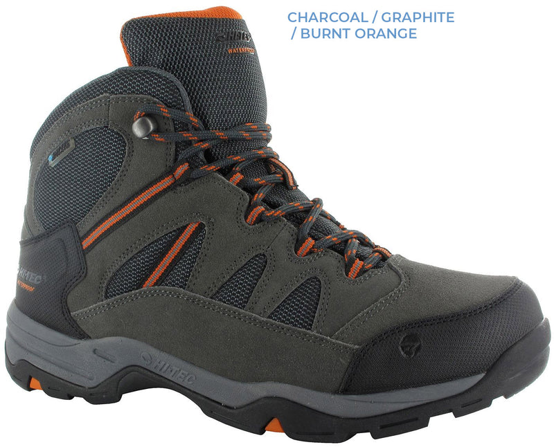Charcoal, Graphite, Burnt Orange. Hi-Tec Bandera Lite II Waterproof Hiking Boots