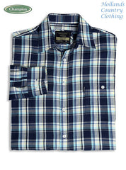 Chatham shirt in navy with folded sleeves