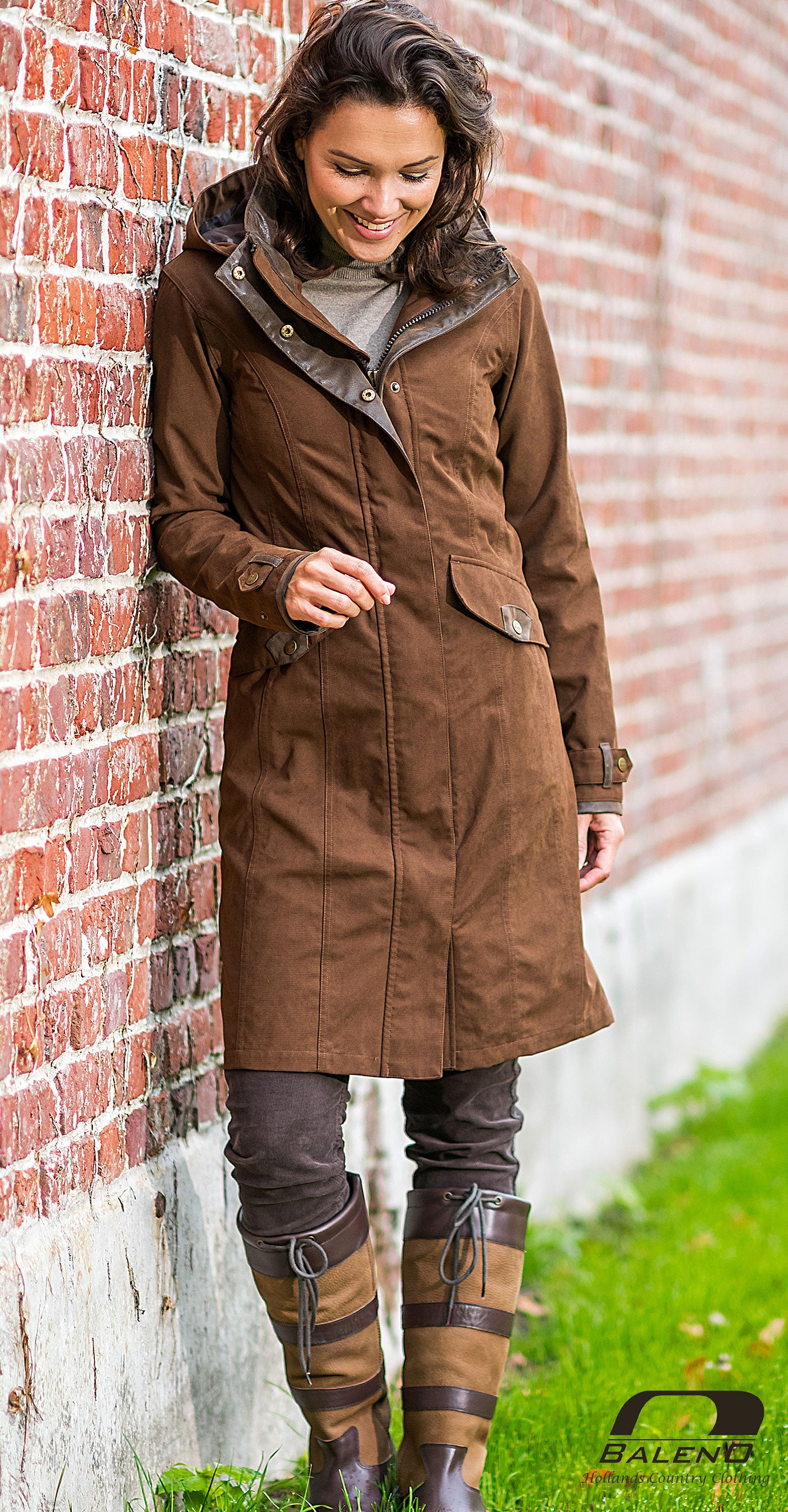 lady wears Terracotta Baleno Chelsea Mid Length Coat