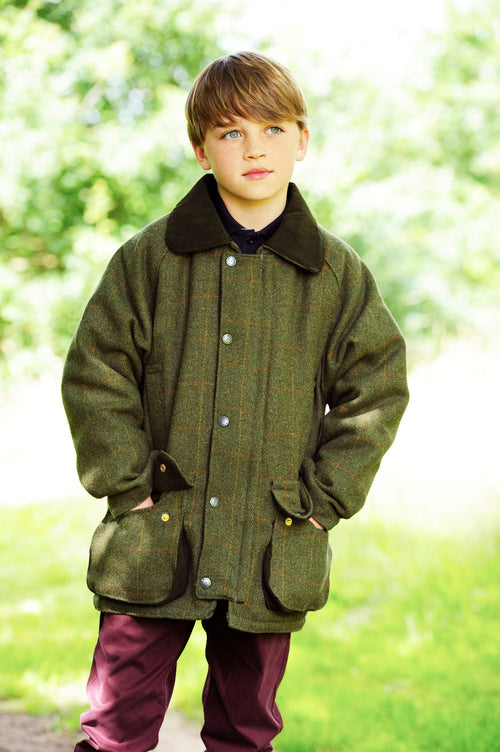 The Bronte Children's Tweed Jacket comes in two shades of traditional Tweed, Dark Green