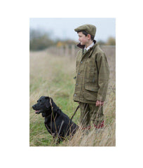 Child in Tweed with Black Labrador