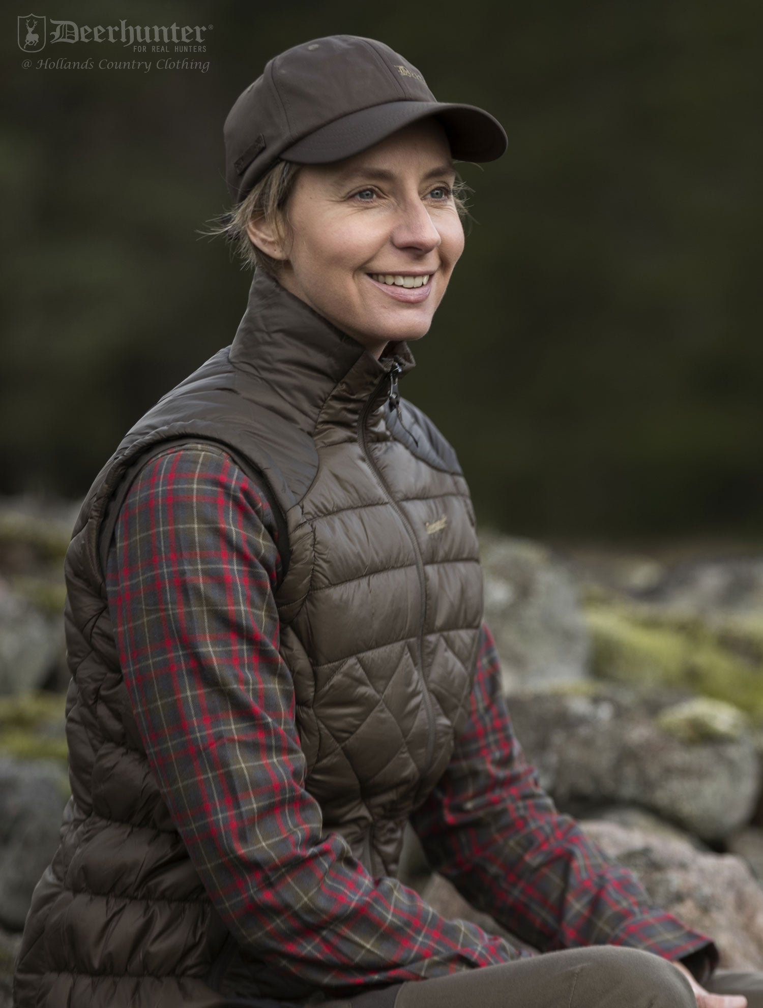 woman wears Deerhunter Lady Christine Gilet in elm green