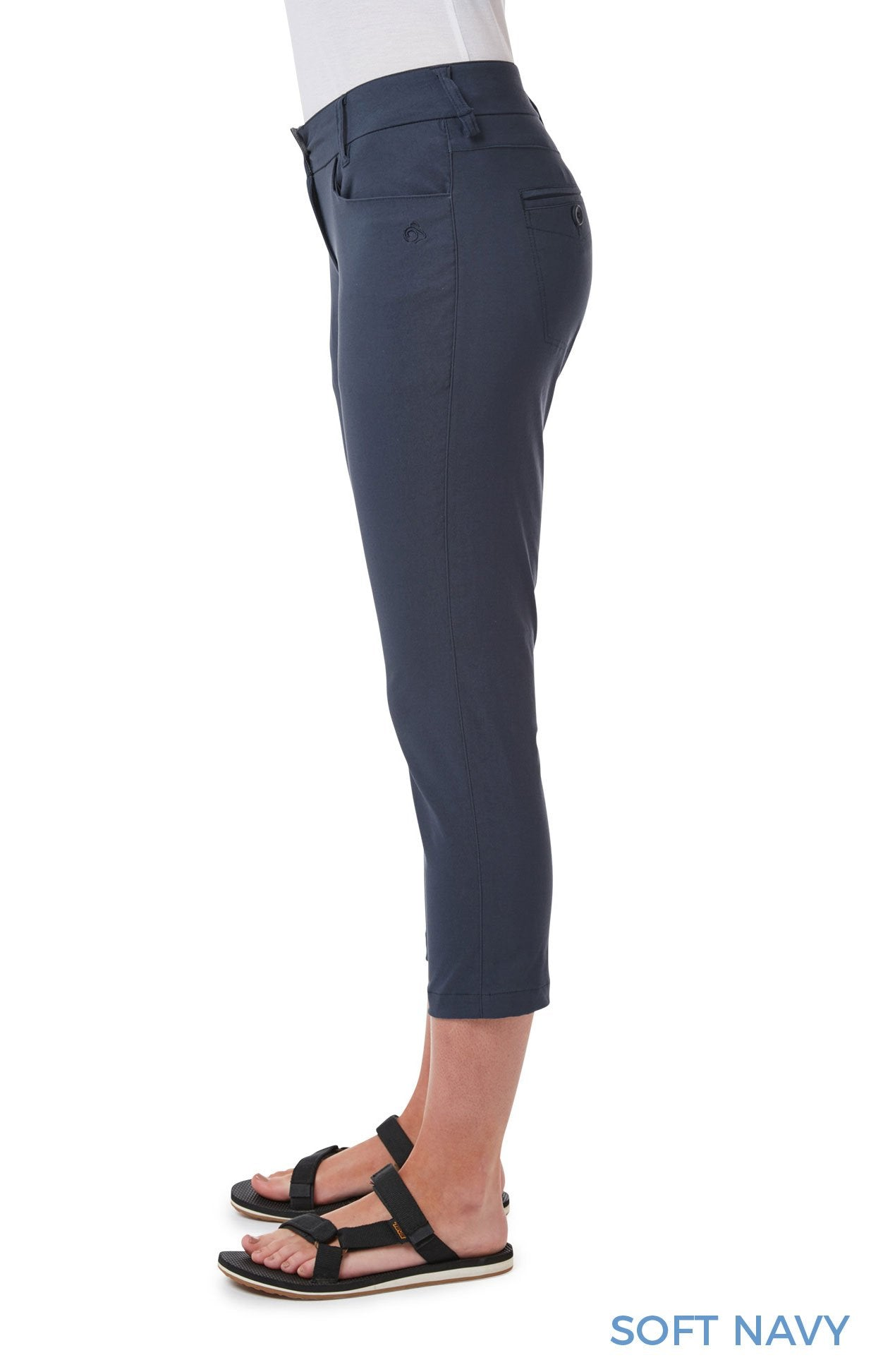 Side View Navy Capri Pants