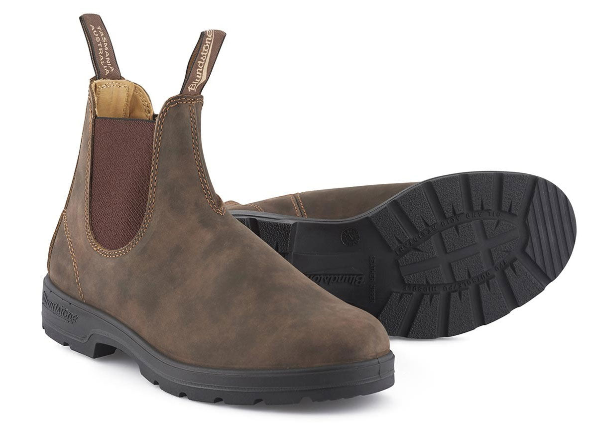 Blundstone Slip on market boot in brown rustic leather