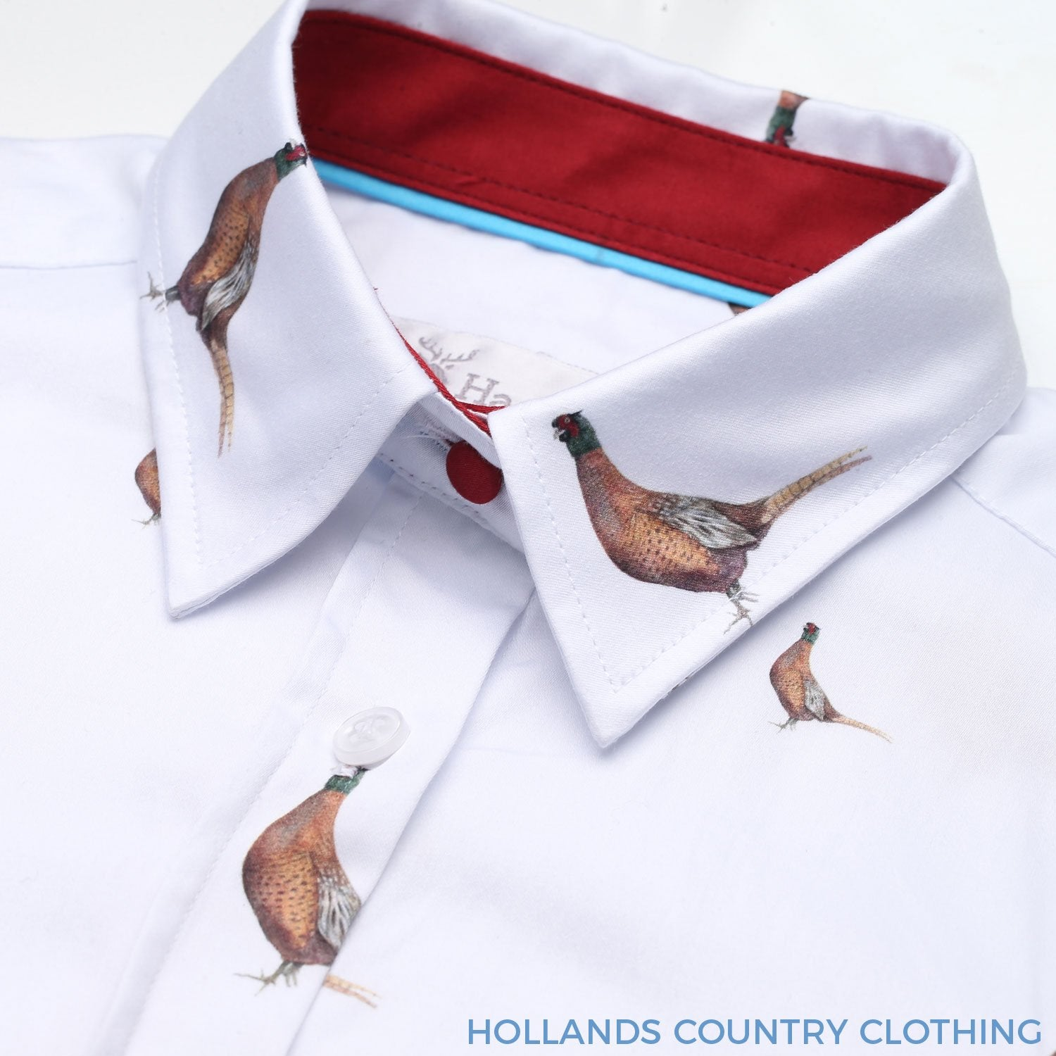 White shirt with colourful pheasant pattern and red trim