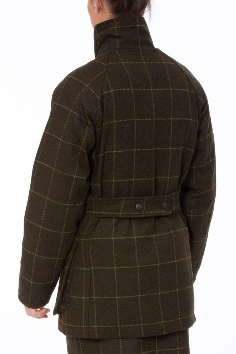 rear view Alan Paine Combrook Ladies Tweed Coat | Avocado Green