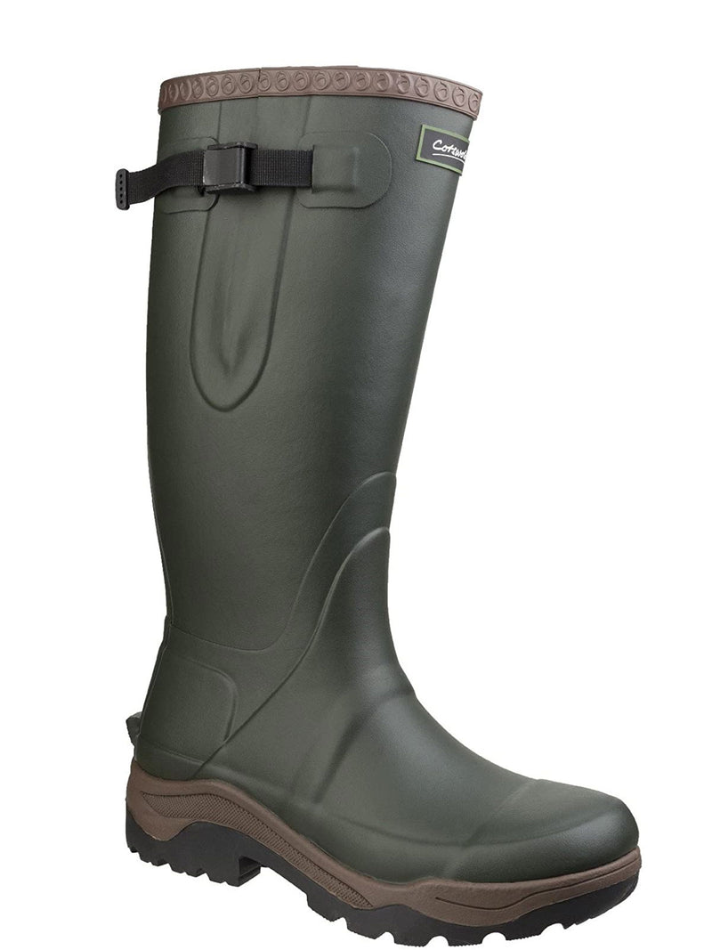 Men's Green Cotswold Compass Neoprene Lined Rubber Wellington Boots
