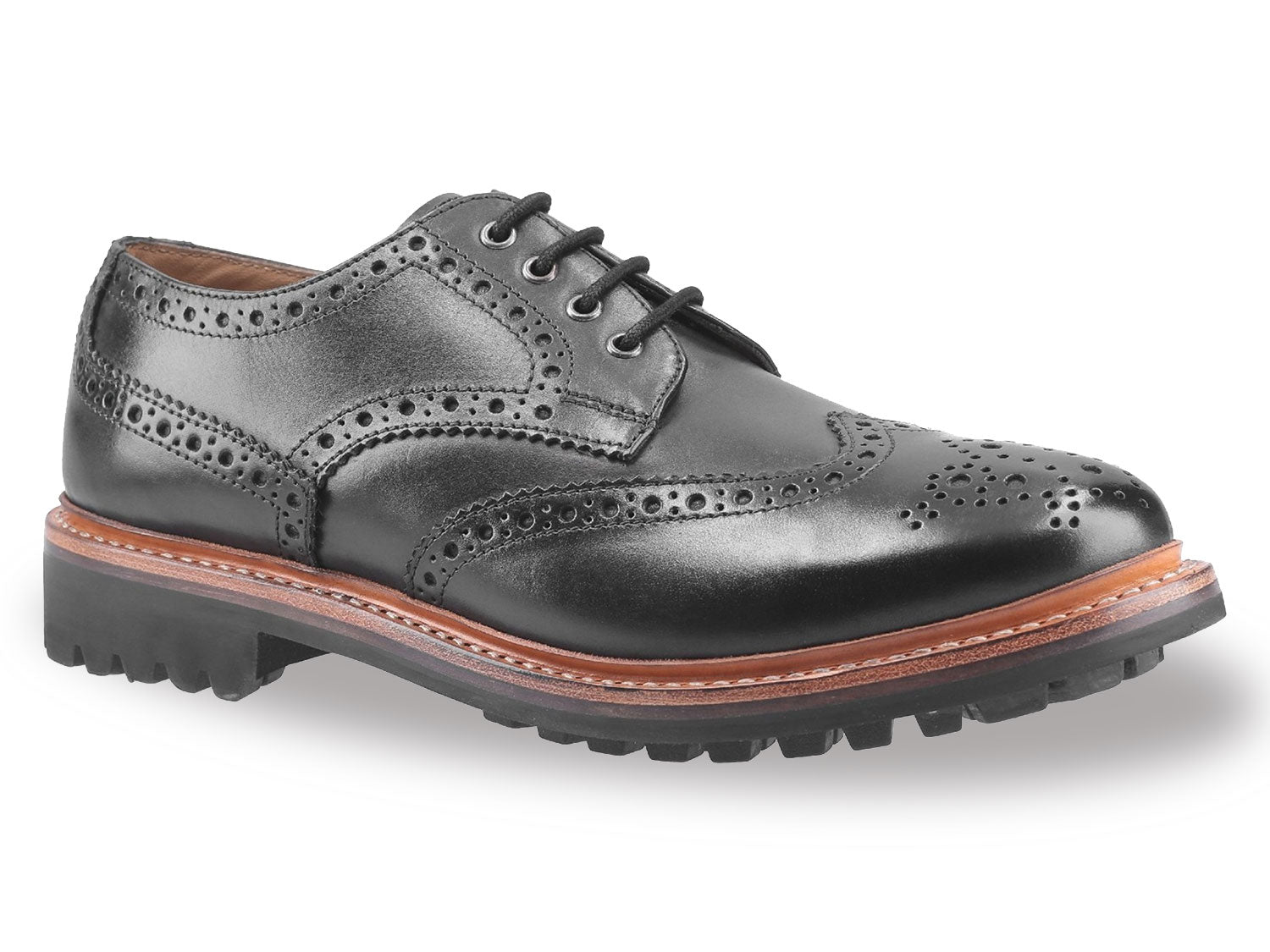 Black Cotswold Quenington Commando Sole Brogue Shoe