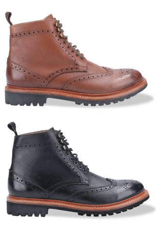 Cotswold Rissington Commando Brogue Boot | Black, Brown