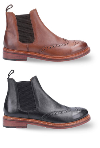 Cotswold Siddington Leather Brogue Chelsea Boot | Black, Brown